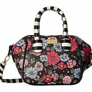 Betsey Johnson FLOWER STRIPED MINI SATCHEL